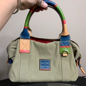 Dooney and bourke satchel with multicolor handle